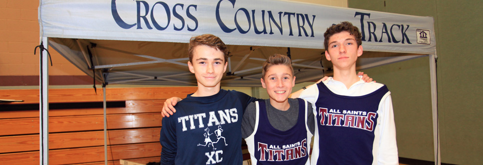 Three cross country track students posing in their team uniforms.