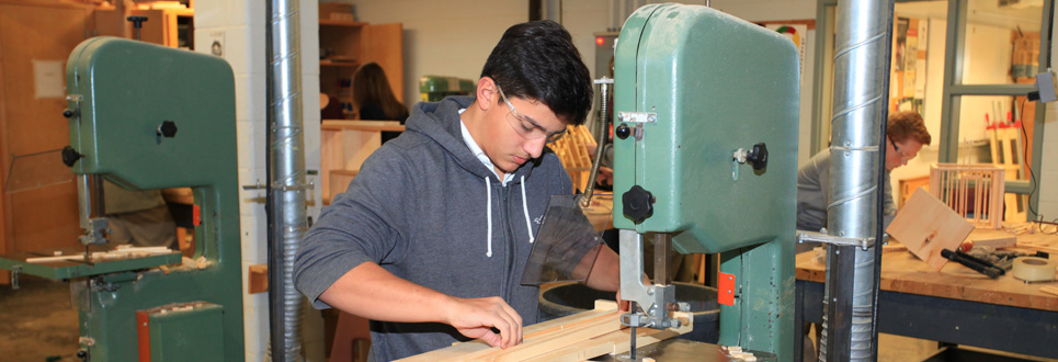 Male student in woodworking shop